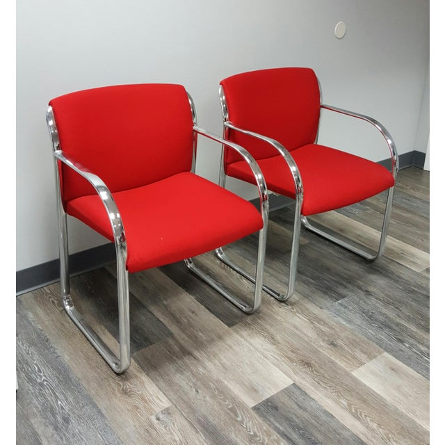 Curvilinear Chrome Chairs - Set of 6 - Image 3 of 9