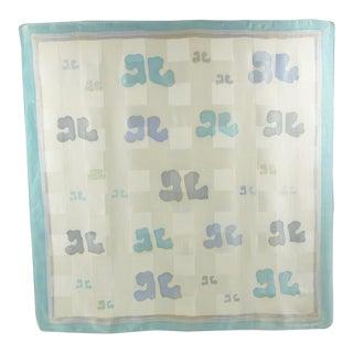 Courreges Paris Crepe De Chine Pastel Brand Logo Signed Silk Scarf For Sale