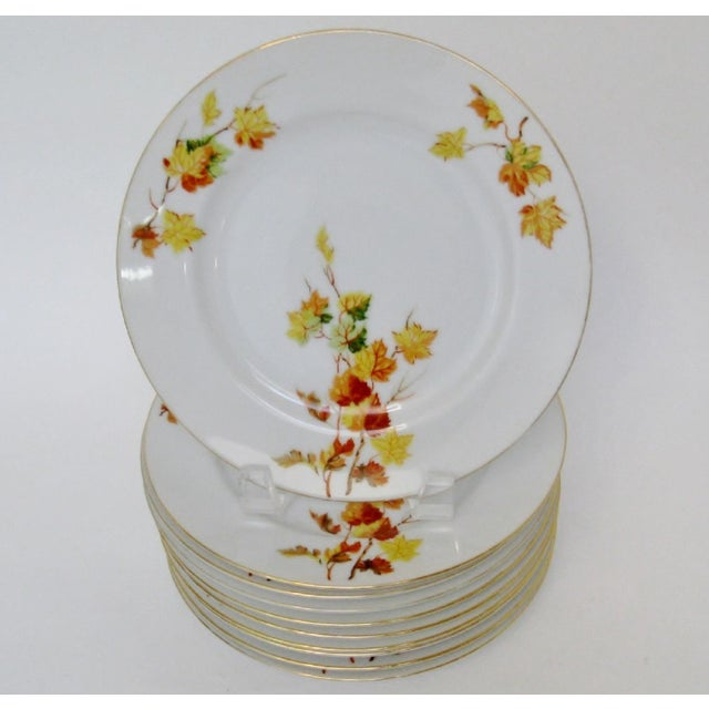 Set of 10 small Japanese white-glazed porcelain plates with a brightly colored fall leaves motif. Maker's mark on...