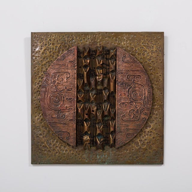 A Square Brutalist Mixed Metal Wall Panel Sculpture 1970s Prices include 10% VAT which is removed for items shipped...