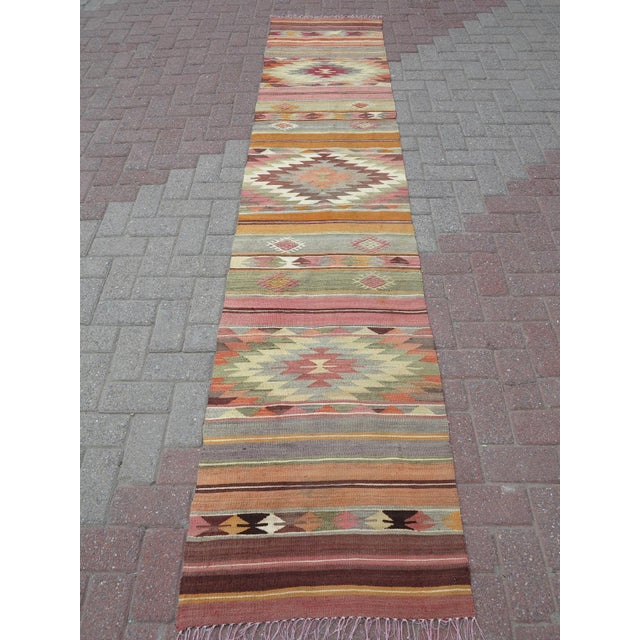 "Boho Chic Anatolian Kilim Runner Pastel Colored Hallway -2'1'x10"" For Sale - Image 3 of 13"
