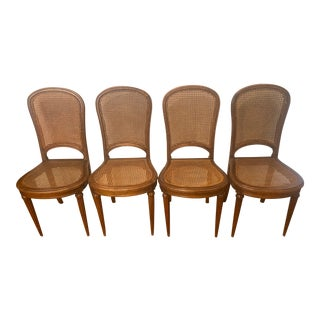 French Country Wicker Seat Chairs - Set of 4 For Sale
