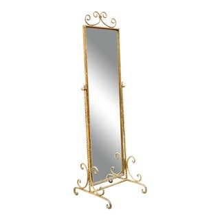 Vintage Gold Gilt Wrought Iron Rope Floor Mirror - Made in Italy For Sale