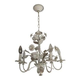 1960s Vintage Floral Tole 5 Light Chandelier For Sale
