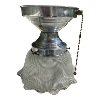 Vintage Nickel Ceiling Flush Mount Fixture With Holophane Shade For Sale