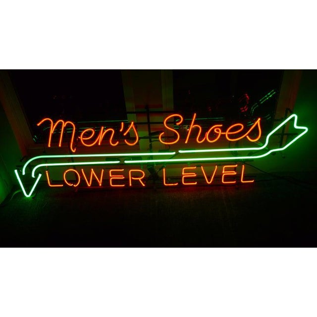 1930s Neon Sign From Department Store, Men's Shoes, Lower Level, Circa 1930s. For Sale - Image 5 of 13