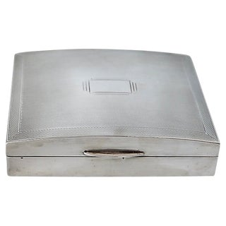 Art Deco English Sterling Cigarette Box - D. 1940 For Sale