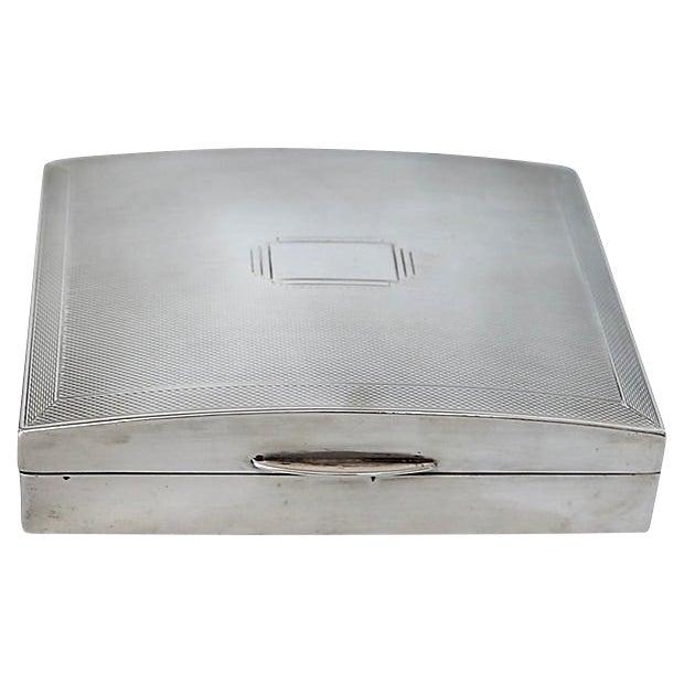Art Deco English Sterling Cigarette Box - D. 1940 For Sale