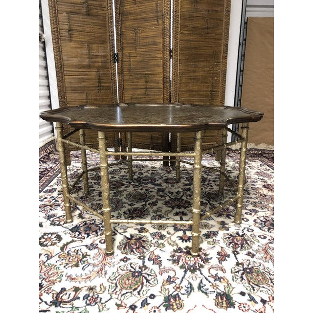 Mastercraft Mid-Century -Chippendale Metal Inlay Cocktail Table For Sale - Image 4 of 4
