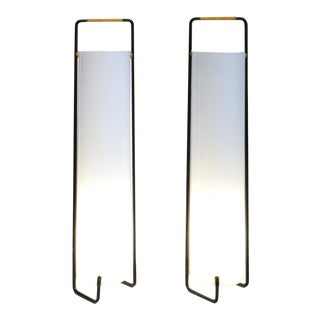 French Work - Pair of Lamps in Plexiglas, Lacquered Steel, and Rattan