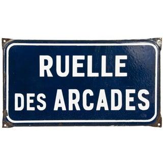 French Enamel Street Sign - Ruelle Des Arcades