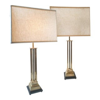 1970s Hollywood Regency Style Brass Table Lamps - a Pair For Sale