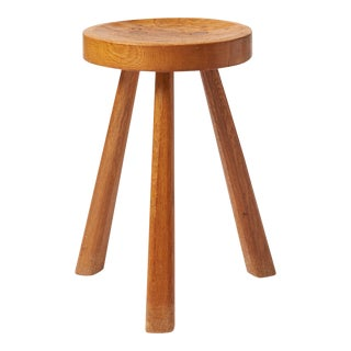 Oak Stool by Jean Touret For Sale