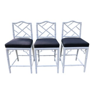 Jonathan Adler Chippendale Counter Stools - Set of 3 For Sale
