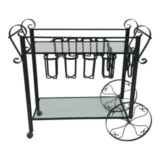 Early 20th Century Antique Wrought Iron Spanish Bar Cart For Sale
