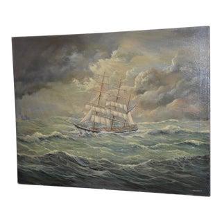 "Marcus Paulsen ""Stormy Seas"" Original Oil Painting 20th C. For Sale"
