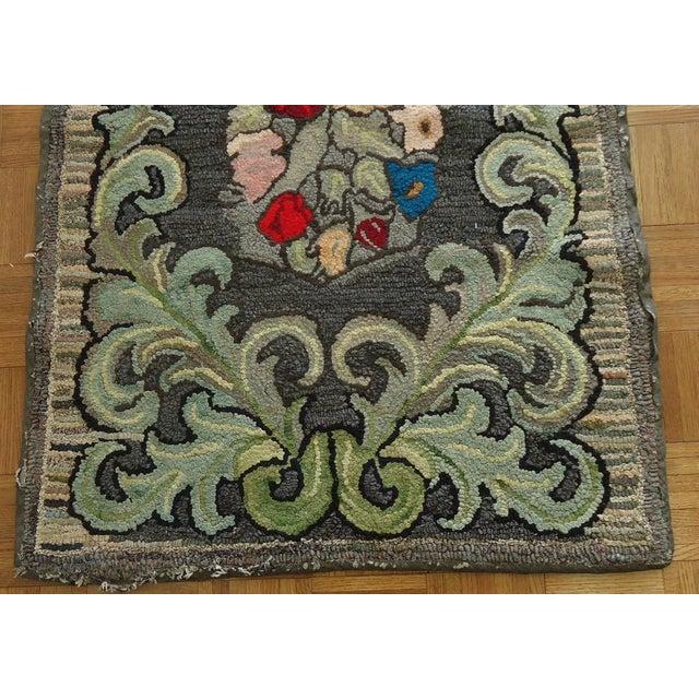 "Rag Rug Prices: Vintage Folk Art Hooked Rag Rug - 2'10"" X 4'11"""