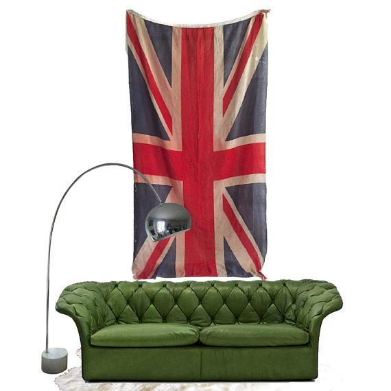 Mid Century Modern Union Jack Flag Distressed Uk British Flag 8 Ft For Sale In Richmond - Image 6 of 9