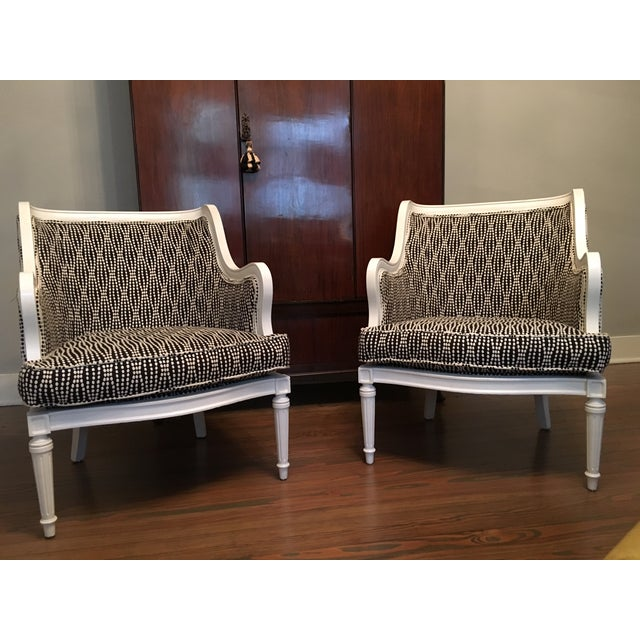 Louis XVI Lacquered Black and White Chairs - Pair - Image 3 of 6