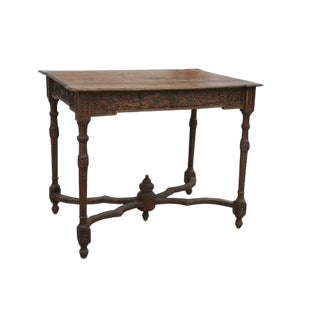 18th Century French Oak Table With Carvings and Single Drawer For Sale
