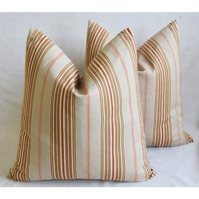 "Cotton French Striped Ticking Feather/Down Pillows 23"" Square - Pair For Sale - Image 7 of 12"