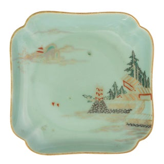 Late 19th Century Vintage Japanese Celadon Decorated Plate For Sale
