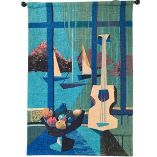 "1950 Peter Pepper Mid Century Huge Mural Textile Wall Hanging Art 57"" X 40"" For Sale"