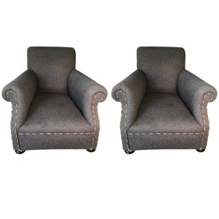 Pair of Antique English Rolled Arm Club Chairs For Sale