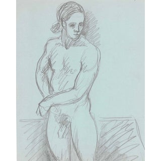 Male Nude With Ponytail by James Bone For Sale
