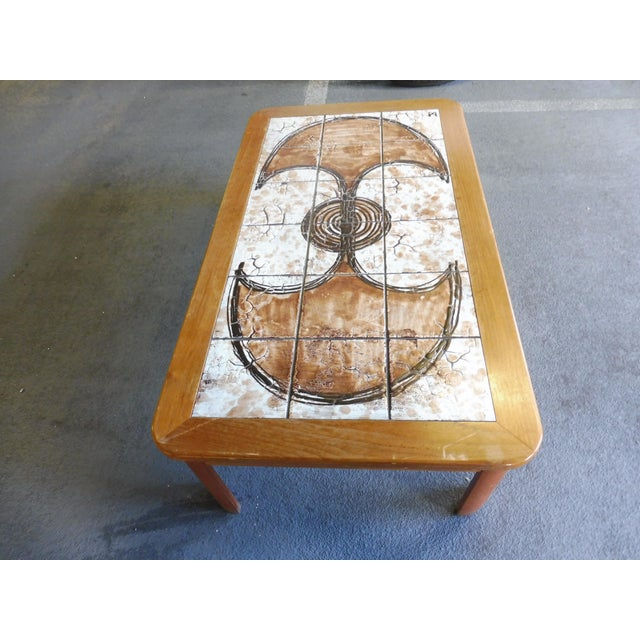 Mid-Century Modern 70's Abstract Painted Tile Top Danish Modern Coffee Table Signed For Sale - Image 3 of 11