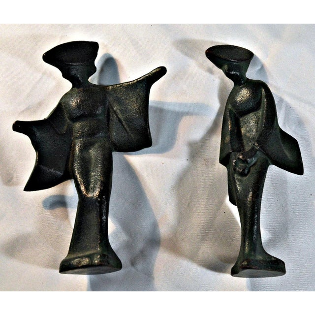Mid-Century Cast Iron Geisha Figures - A Pair For Sale - Image 5 of 11