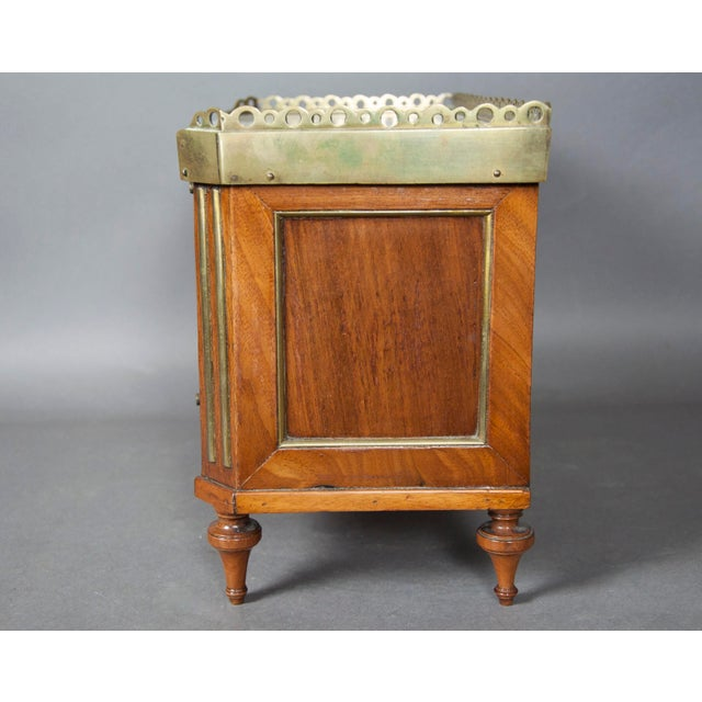 Directoire Style Mahogany and Brass Inlaid Miniature Commode For Sale In Boston - Image 6 of 6