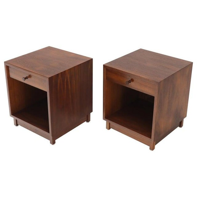 Pair of Cube Shape Oiled Walnut One Drawer Mid-Century Modern End Tables Stands For Sale - Image 13 of 13