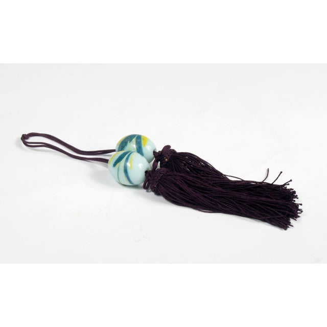 Chinese Wine and Aqua Braided Tassels - A Pair - Image 2 of 4