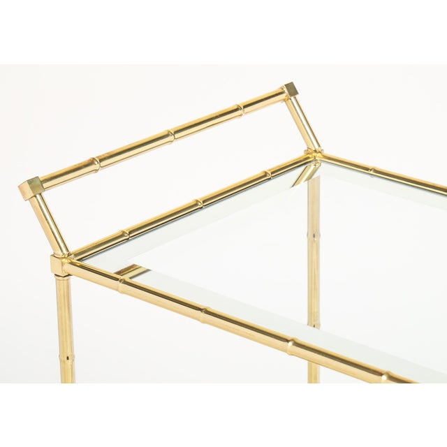 Metal Vintage French Brass Faux Bamboo Bar Cart or Trolley by Maison Baguès For Sale - Image 7 of 9