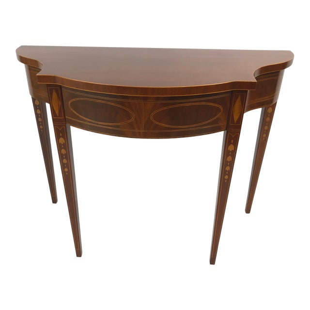Serpentine Flame Mahogany and Inlaid Console Table For Sale