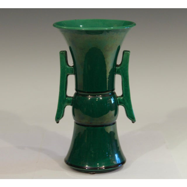 """Awaji pottery vase in great Chinese inspired Gu form with handles and green monochrome glaze. Circa 1920's. 8 3/4"""" high...."""