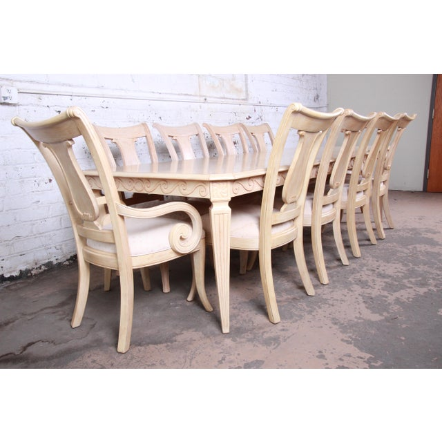 1990s Bernhardt Mediterranean Style Carved Maple Dining Set With Ten Chairs For Sale - Image 5 of 13