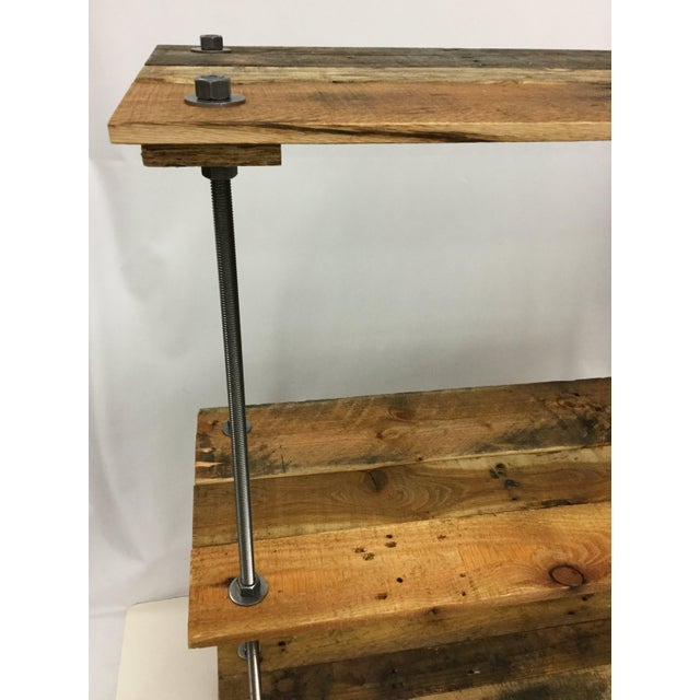 Adjustable Height Industrial Style 3-Shelf Pallet Wood Bookcase For Sale - Image 11 of 13