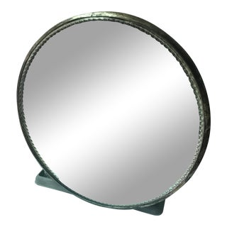Antique Round Silver-Plate Mirror For Sale