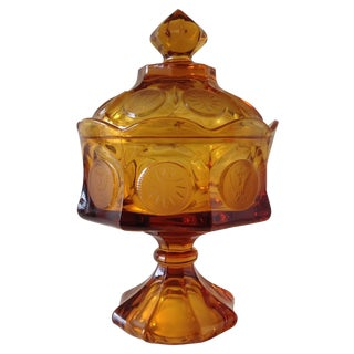 Amber Glass Pressed Coin Pedestal Candy Dish For Sale