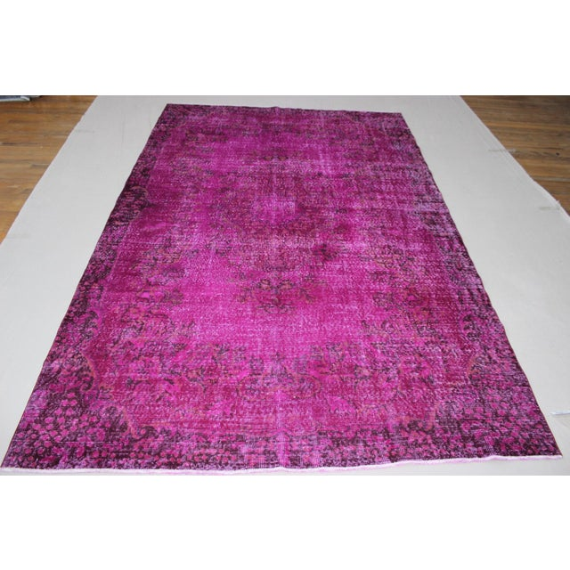 """6'4"""" X 10' Turkish Pink Overdyed Rug For Sale - Image 3 of 10"""