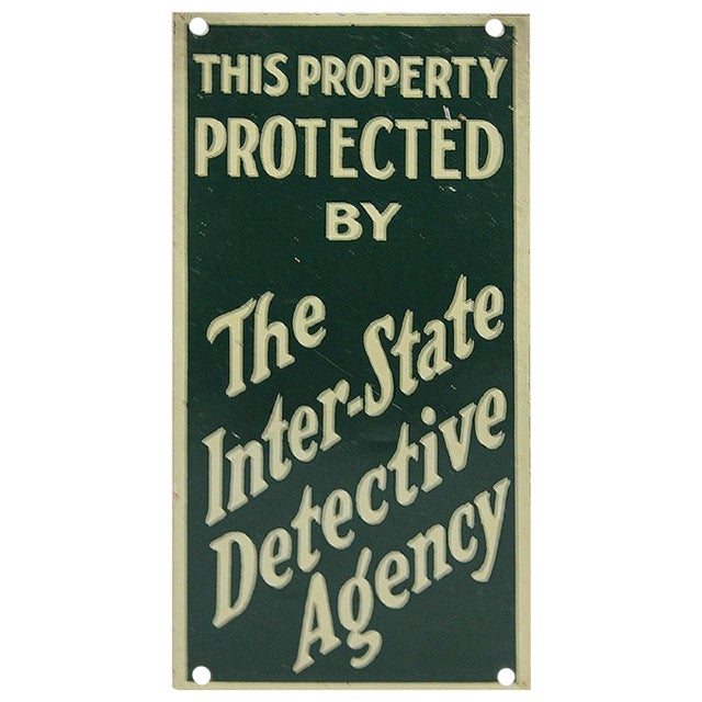 """1930s Vintage """"The Inter-State Detective Agency"""" Sign For Sale"""