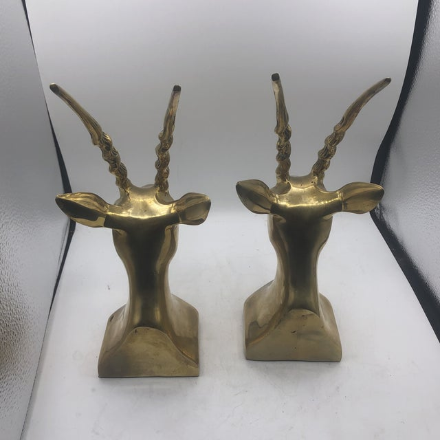 Hollywood Regency Brass Antelope Bookends - a Pair For Sale - Image 3 of 11