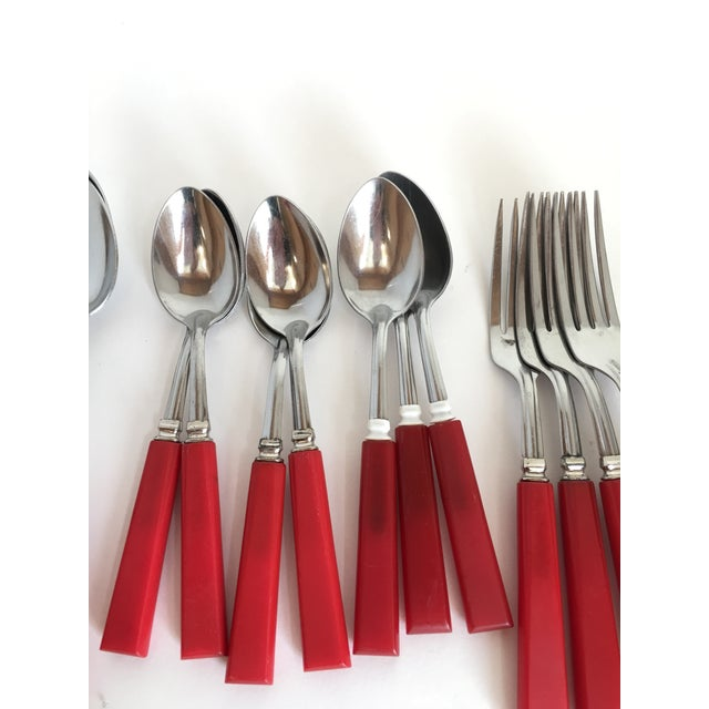 Plastic Mid Century Red Bakelight Silverware Collection For Sale - Image 7 of 9