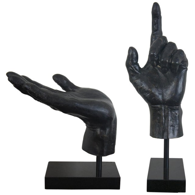 Global Views Cast Iron Open & Pointing Hand Sculptures - A Pair For Sale - Image 13 of 13