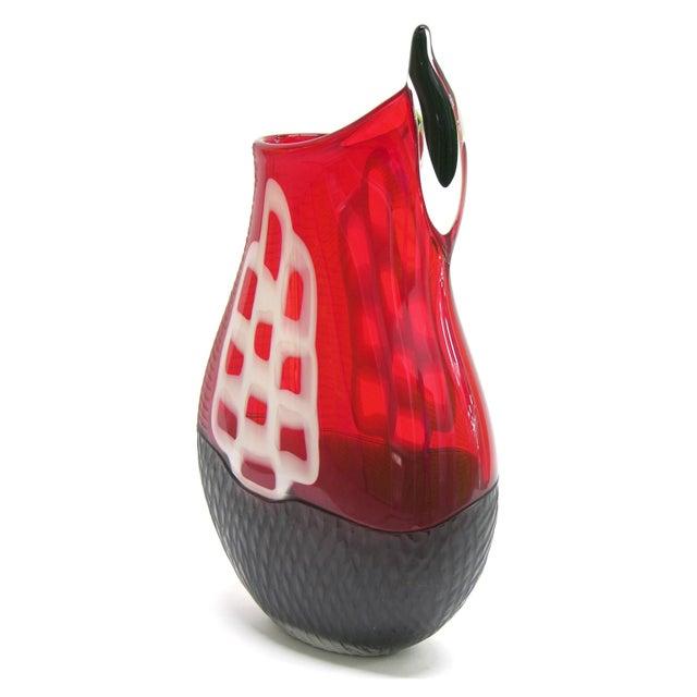 1980s Alberto Dona 1980s Modern Sculptural Red Black White Engraved Murano Glass Vase For Sale - Image 5 of 11