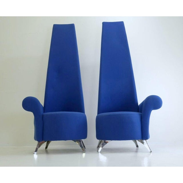 Modern Italian High Back Chairs - A Pair - Image 3 of 8