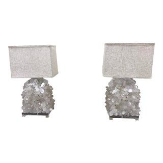 Rock Crystal/Quartz Lamps on Lucite - a Pair