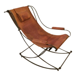 Sling Back Distressed Leather & Iron Rocking Chair